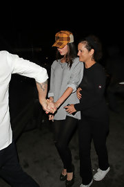 Megan Fox wore a loose-fitting, long-sleeved, striped t-shirt while out to dinner in Beverly Hills.