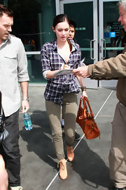 Megan Fox was spotted in the terracotta suede lace up Dakota boots outside of the Staples Center.