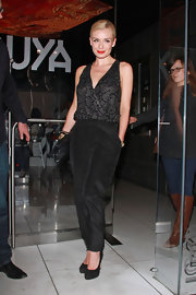 Katherine Jenkins wore this black jumpsuit while out at Katsuya in Hollywood.