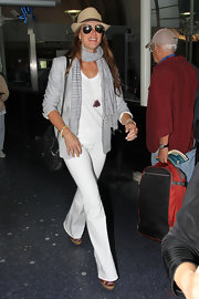 Brooke Shields wore a light gray blazer while traveling to LA.