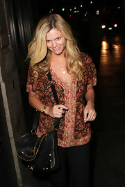 Brooklyn Decker showed off her casual style while heading to dinner at famous restaurant Katsuya. Her leather cross body bag is right on trend and went well with her look.