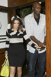 Lamar Odom chose a patterned button-down shirt and jeans for a dinner date with wife Khloe.