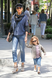 Camila Alves rocked this slouchy blue sweatshirt and a pair of jeans while out in NYC.