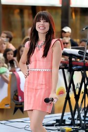 Carly Rae Jepsen looked pretty in pink with structured sleeves on the 'Today' show.