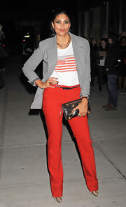 Rachel Roy accented her patriotic ensemble with a distressed leather clutch.