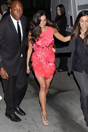 Cuban/Venezuelan beauty Genesis Rodriguez visited 'Jimmy Kimmel Live' wearing a fur and sequin-detailed dress.