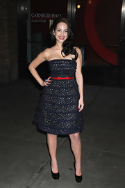 Alexa Ray Joel paired an adorable Marc by Marc Jacobs dress with uber tall patent leather platform pumps.