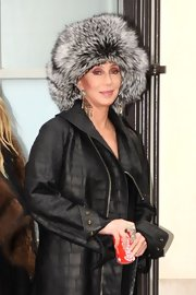 Cher looked a little too posh in a gray fur hat while out shopping in Paris.