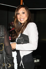 Cheryl showed off her black chain embellished clutch while hitting Katsuya in Hollywood.