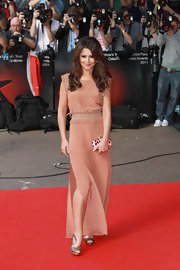 Cheryl Cole teamed her gorgeous blush gown with metallic bronze Nicholas Kirkwood Spring 2011 Web sandals.