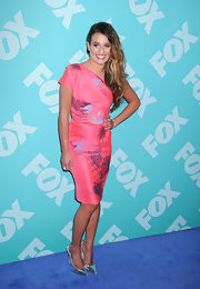 Lea Michele looked totally fun and flirty in a pretty pink one-shoulder frock that featured metallic floral designs.