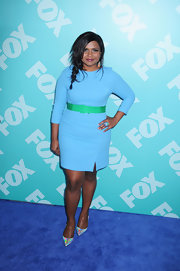 Mindy's sky blue dress and green belt gave her a fun and flirty look at FOX's 2013 Programming Presentation.