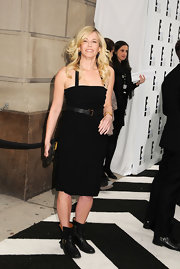Chelsea Handler looked tough-chic in this LBD with biker boots for the E! Upfront event in NYC.