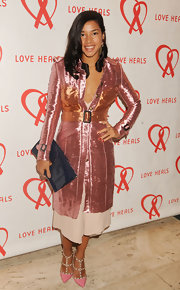 Hannah Bronfman added some major glamour to her look with this metallic pink trench coat.