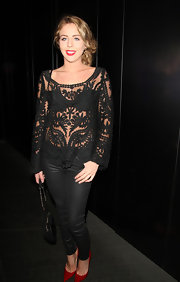 Lydia Bright chose a crocheted, see-through top to pair with her leather pants at the launch of Gizzi Erskine's book.