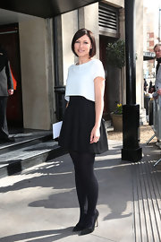 Emma Willis sported a full mini skirt for her mod-inspired look at the TRIC Awards in London.