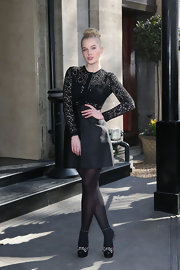 Helen Flanagan opted for a super feminine lace dress with full skirt for her look at the TRIC Awards.