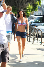 This multicolored chevron bikini top was summer fresh on Daniela Ruah.