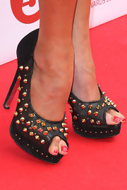 Lizzie Cundy's studded peep-toes added a bit of a rocker edge to her red carpet look.