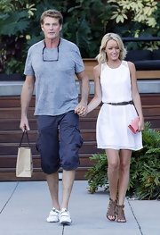Hayley Roberts looked easy-breezy in a little white dress and gladiator sandals while out shopping in LA.