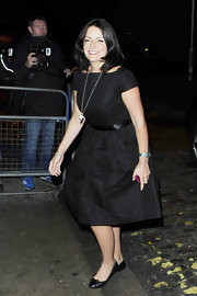 Davina McCall looked totally charming in her '50s-inspired dress and black ballet flats.