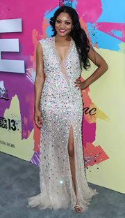 Erica Hubbard chose a super sparkly beaded gown to bring some dazzle to the Pre-BET Awards Celebration Dinner.