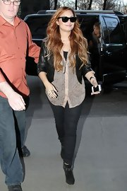 Demi wore these black suede ankle boots.