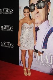 Melissa Gorga shined on the red carpet in this stone-covered mini-dress.