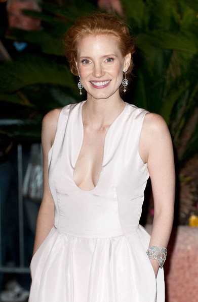 More Pics of Jessica Chastain Bobby Pinned Updo (1 of 4) - Jessica Chastain Lookbook - StyleBistro