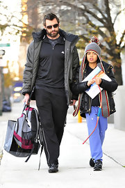 Oscar Jackman chose to incorporate periwinkle sweats into his outfit to banish the gloom of cold winters in New York.