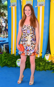 Olivia Hallinan chose a floral frock for a flirty look at the premiere of 'Teen Beach Movie.'