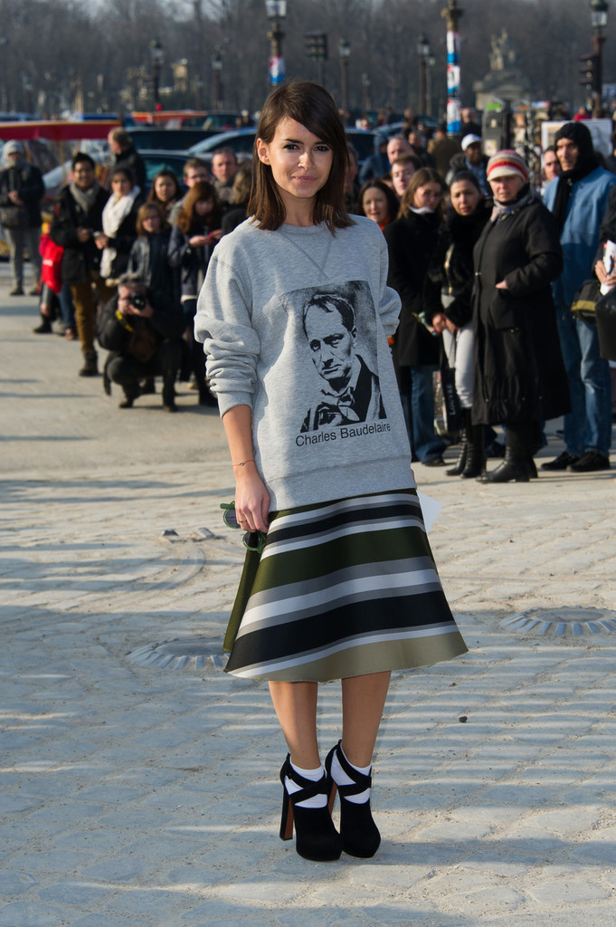 Miroslava Duma arrives at the Chloe Fall-Winter 2013/2014 Ready-to-Wear collection show held at L'espace Ephemere des Tuileries in Paris.