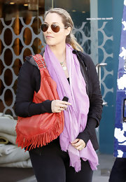 Elizabeth Berkley wore this lilac scarf with her dark ensemble while out in West Hollywood.