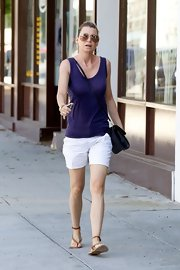 Ellen Pompeo went for a stroll in strappy tan sandals that kept her look casual and cute.