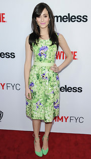 Emmy Rossum went all out with the brights, pairing mint-green ankle-tie pumps with her print dress.