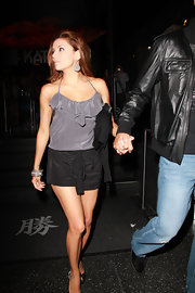 Eva showed off her dangling diamond earrings while hitting Katsuya restaurant with husband Tony Parker.