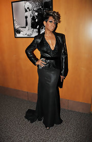Tichina Arnold chose an all-black leather blazer and evening dress combo for the NAACP Theatre Awards.