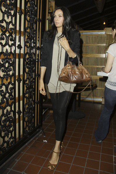 Famke Janssen Buckled Hobo Bag