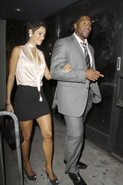 Nicole Murphy looked darling in black polka dotted peep toes at 'The Milennium Network' event.