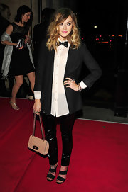 Fearne showed off her quirky style at the Draper Awards in a tuxedo-inspired look. She completed her ensemble with a leather chain strap bag.