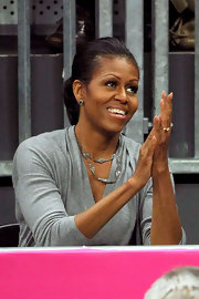 The First Lady showed off her sporty side with a low-slung ponytail at the 2012 Summer Olympics.
