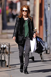 Julianna Moore gave her striped T-shirt an edge with a leather jacket and furry purse.