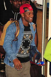 Oritse Williams looked cool in his unbuttoned denim shirt and printed tee.