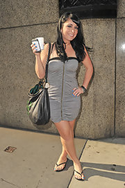 Angelina Pivarnick looked hip and sexy in a strapless ruched gray dress.