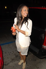 La La Anthony got deglammed in a baggy white blazer and long shorts during a night out at Katsuya.