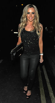 Maria Fowler went clubbing in London wearing a beaded black tank top and leather leggings.