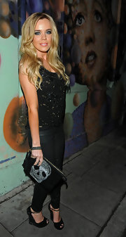 Maria Fowler went out for an evening in London wearing a pair of black peep toe platform wedges with sexy ankle straps and sparkles.