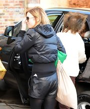 Ginger Spice, Geri Halliwell, was one hot mamma in leather shorts while picking up her daughter from school.