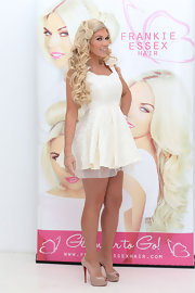 Frankie Essex chose this A-line lace frock with a full circle skirt for her fun and flirty look.