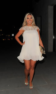 Frankie Essex looked fun and flirty in this off-white baby doll dress.